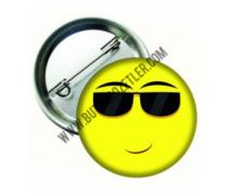 Gözlüklü Smiley İğneli Metal Rozet 44 mm